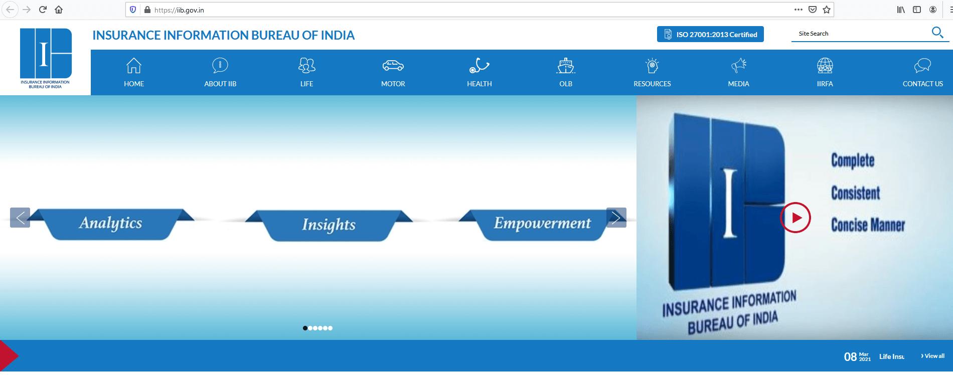Insurance Information Bureau of India Homepage