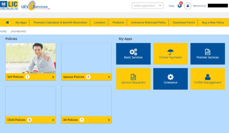 LIC e-services dashboard