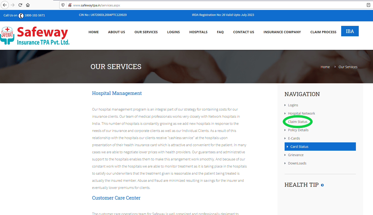 Safeway TPA services page