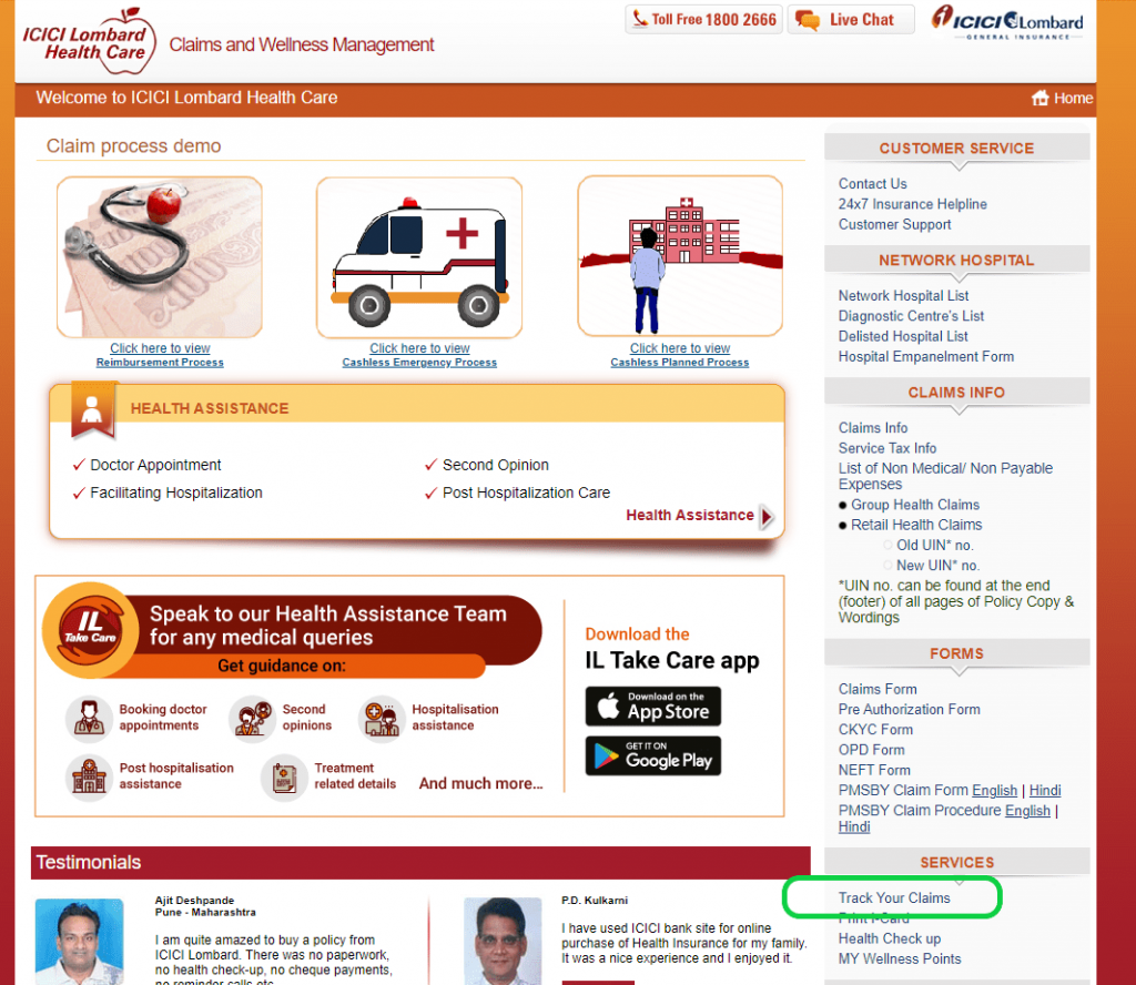 ICICI Lombard Claims page