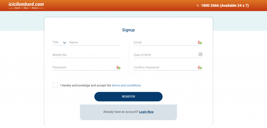ICICI Lombard Register page