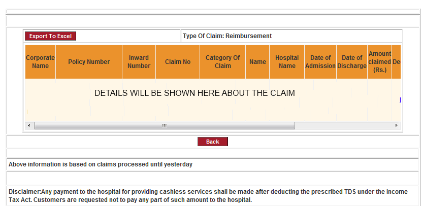 ICICI Lombard claims details page