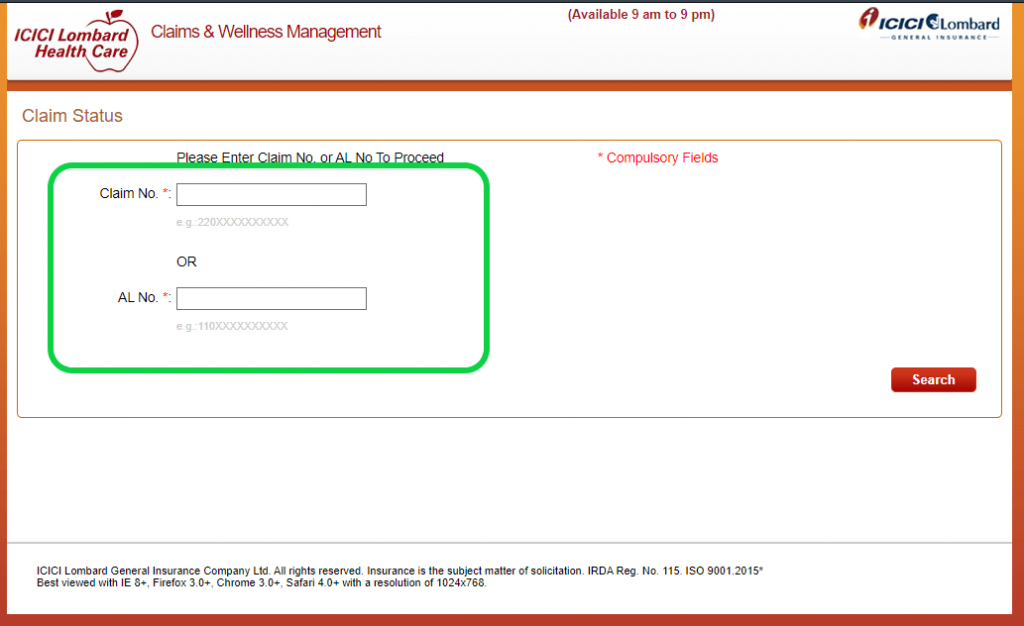 ICICI Lombard claims status page box