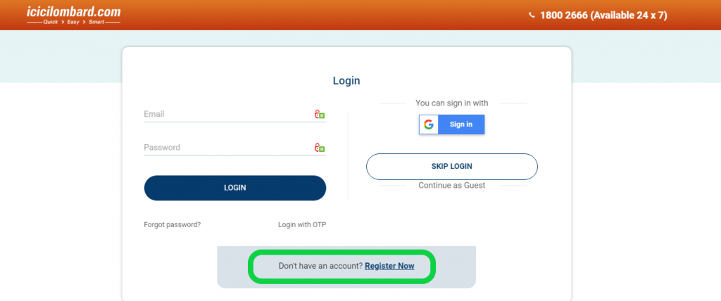ICICI Lombard register now button