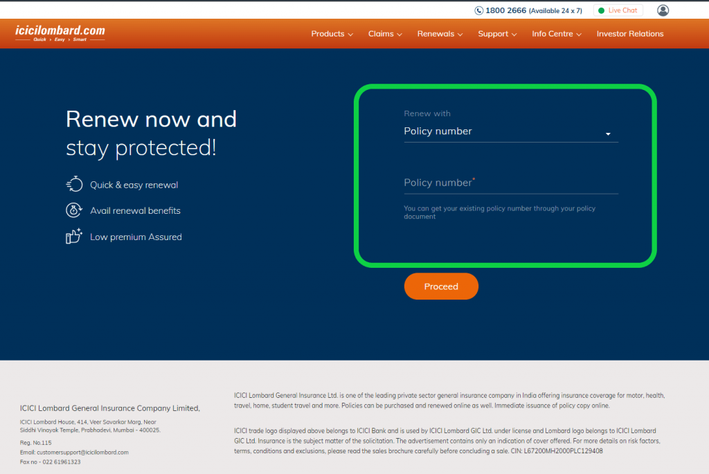 ICICI Lombard renewals page