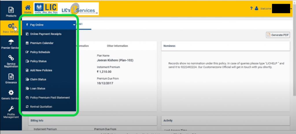 LIC e-Services Basic Services