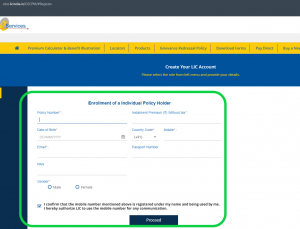 LIC e-services registration page