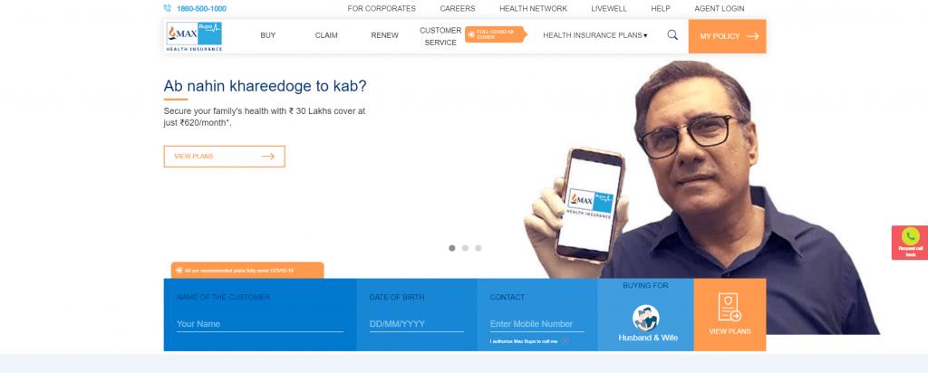 Max Bupa Home page