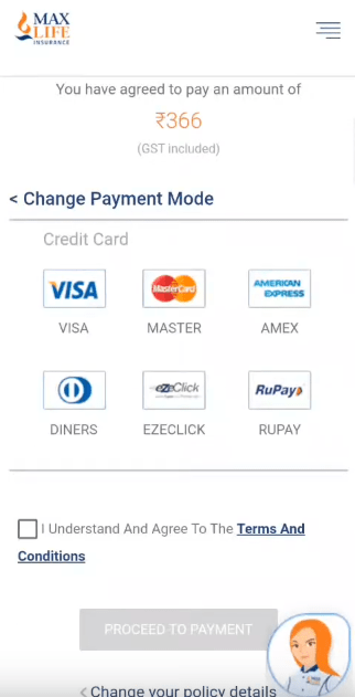 Max Life Insurance credit card payment