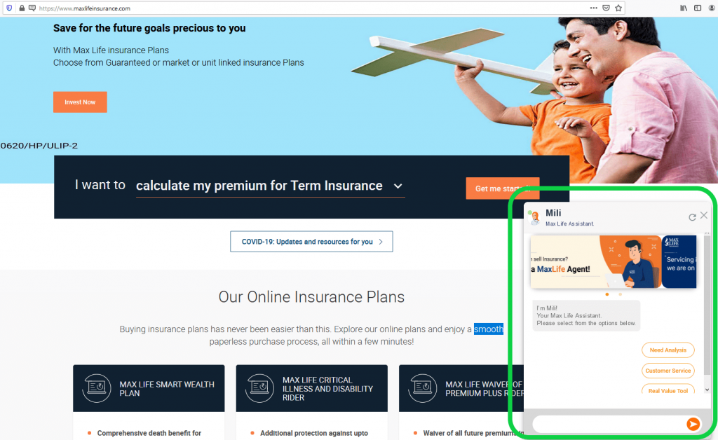 Max Life Insurance online chat