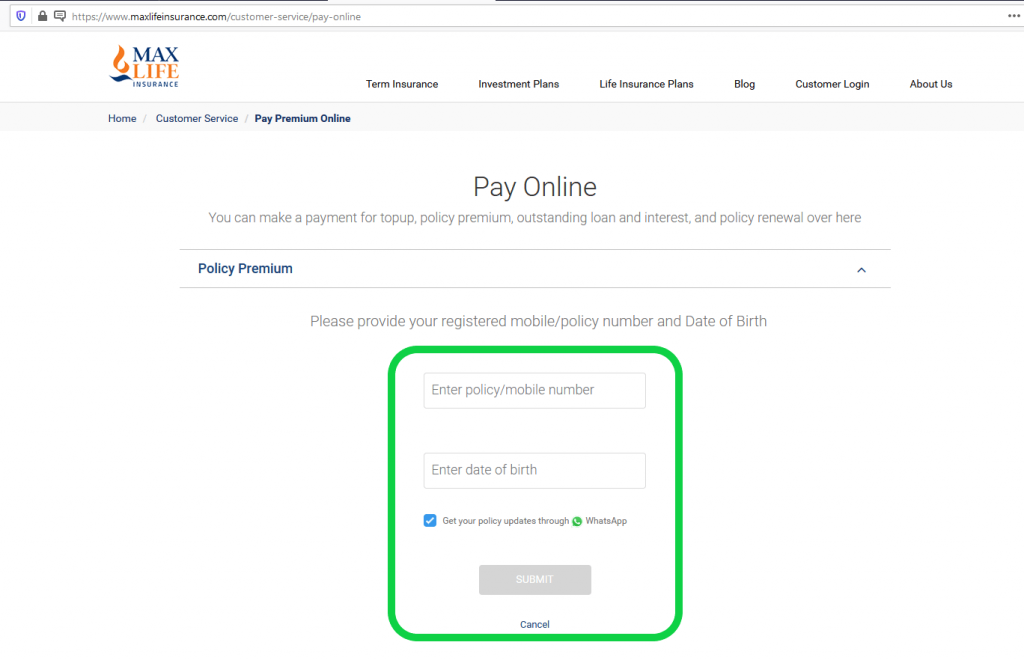 Max Life Insurance pay online page