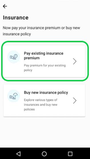 Pay existing insurance premium using PayTM