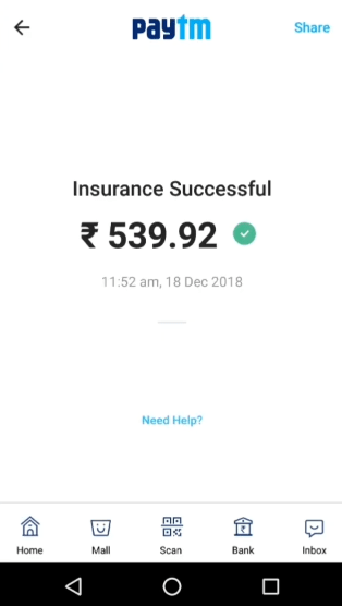 PayTM Payment successful