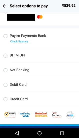 Select payment method on PayTM