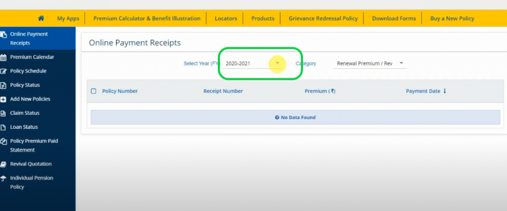 Select period for generating receipts
