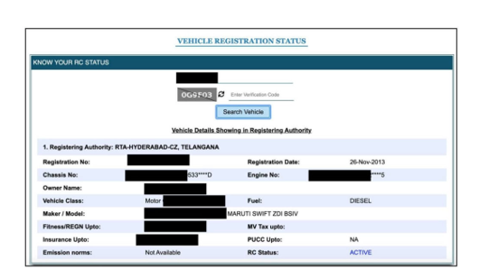 VAHAN registration details
