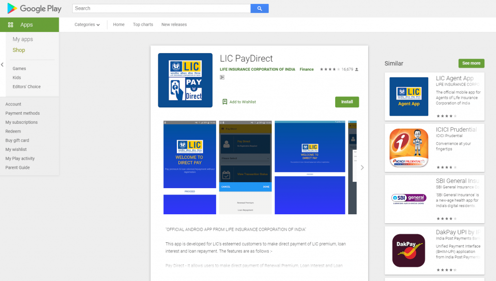 download the lic paydirect app