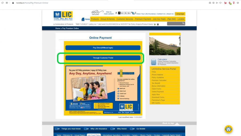 pay direct through customer portal